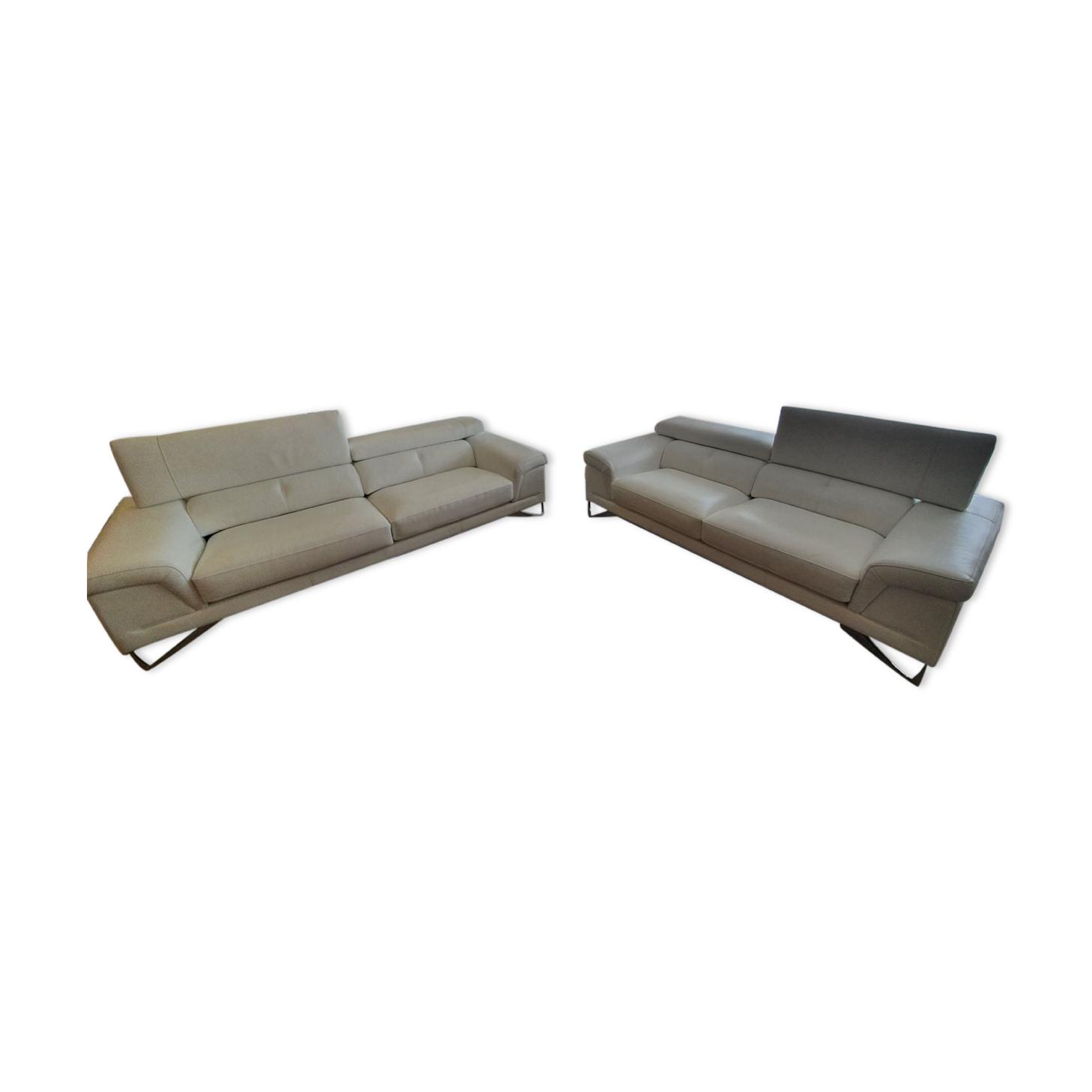 Lot de 2 canapés cuir blanc Mobilier de France