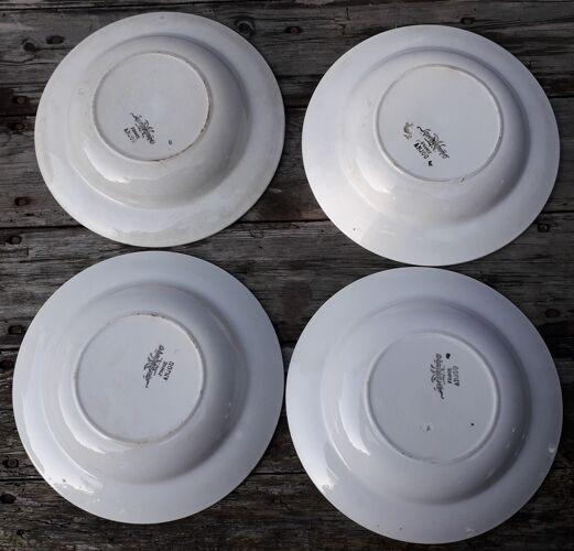 4 assiettes creuses Sarreguemines décor anjou