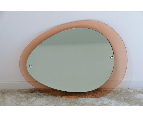 Miroir italien ovale années 60 - 64x46cm