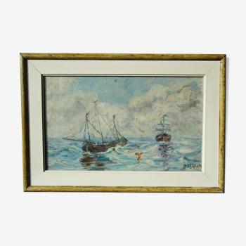 Ancien tableau Marine Navire en mer