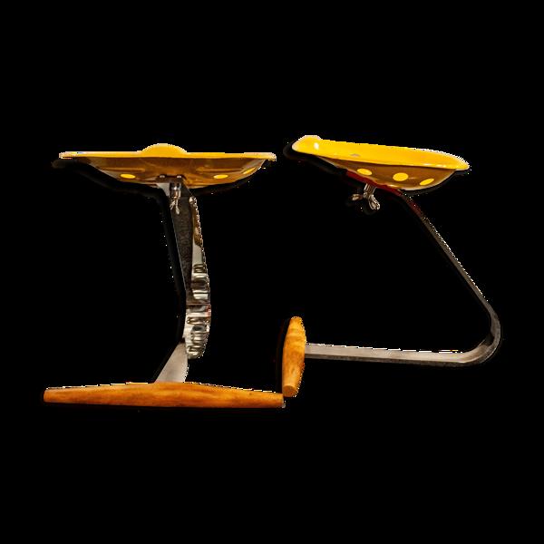 Selency Paire de tabourets Mezzadro par Achille Castiglioni pour Zanotta Italia années 1950