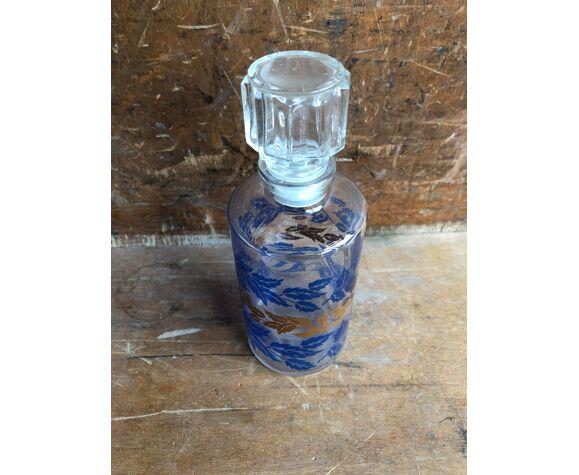 Ancienne bouteille flacon verre moule décor feuille bleu & or + bouchon vintage