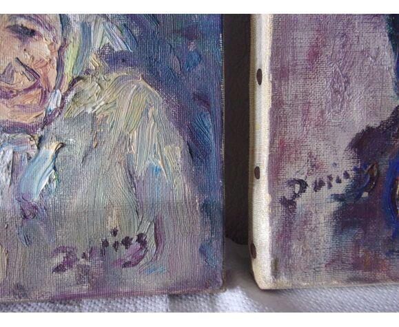 """Lot de 2 huiles sur toile originales """" nos anciens """" Julien Duriez 1900/1993"""