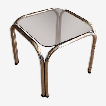 Table d'appoint avec cadre chromé et plaque de verre stand végétal vintage des années 1970