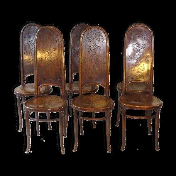 Set de 6 chaises n°86 de Fischel vers 1890