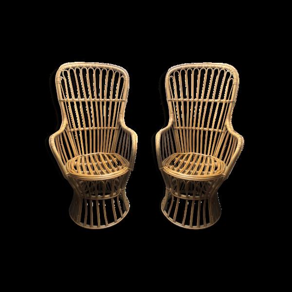 Paire de fauteuils en rotin vintage des années 1960