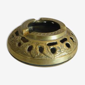 Ancien cendrier en bronze et laiton