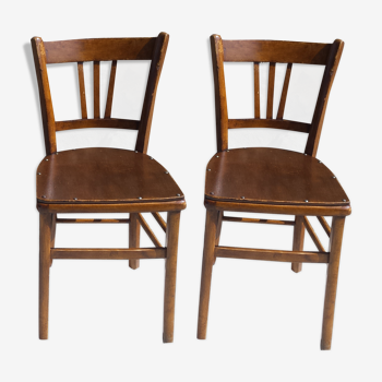 Lot de 2 chaises bistrot style baumann