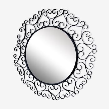 Miroir soleil Chaty Vallauris des années 60 en métal noir