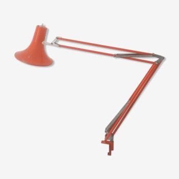Lampe articulée d'architecte - métal laqué orange vintage - années 70