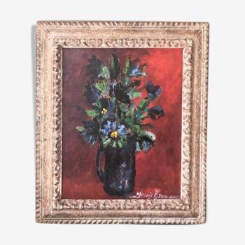 """Tableau """"Bouquet bleu """" signé Denis Brunaud"""