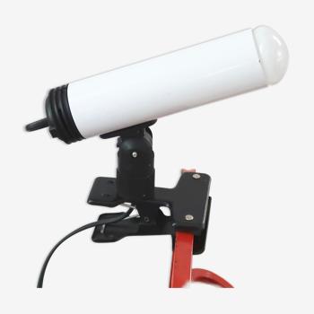 Lampe spot à pince tubulaire blanche, années 80