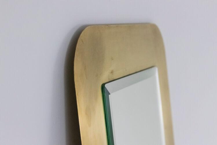 Miroir en laiton doré brossé, années 1970