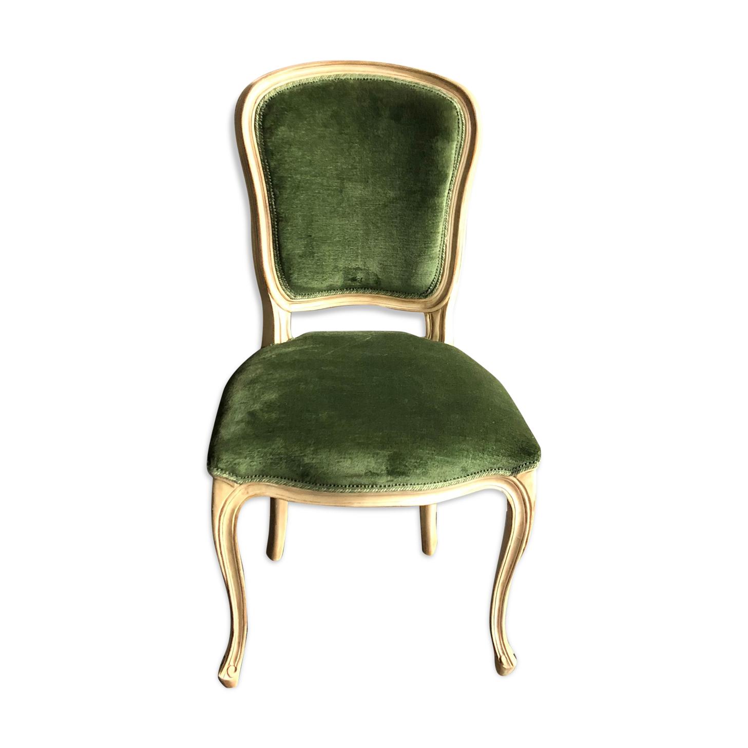 Chaise en bois et velours vert de style néoclassique Flamant