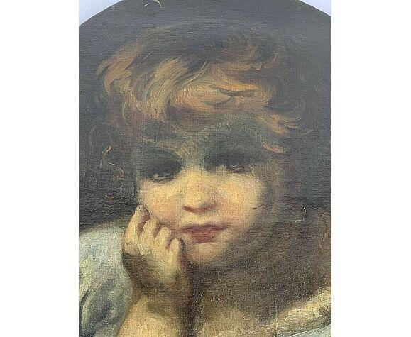 Huile sur toile portrait d'enfant XVIII eme ovale