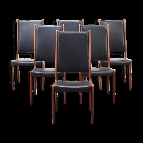Ensemble de 6 chaises par Johannes Andersen pour Uldumn Denmark 1960s
