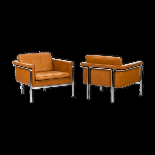 Paire de fauteuils en cuir, Horst Brüning, années 1960