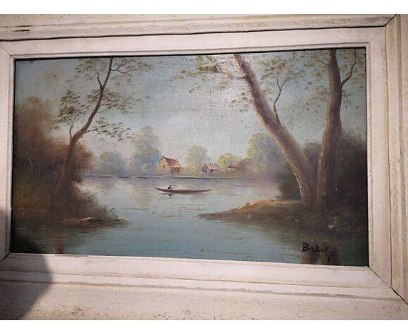 Tableau barque sur un étang