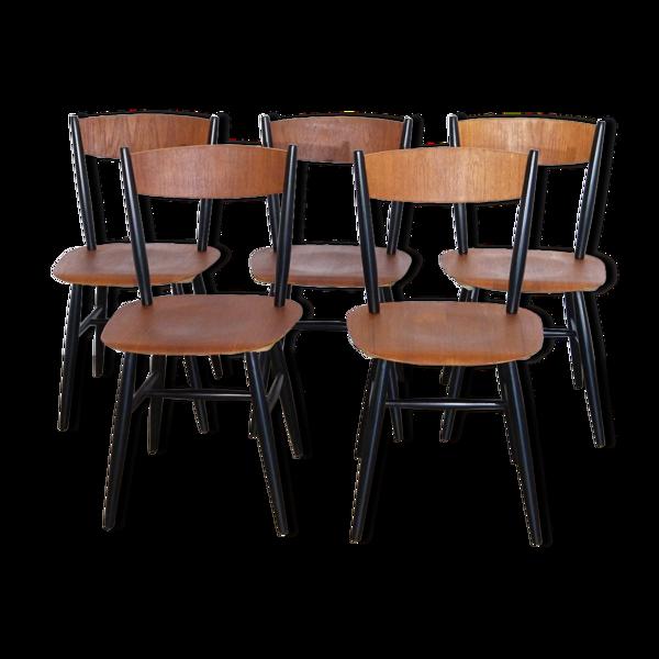 Serie de 5 chaises Fanett par Ilmari Tapiovaara pour Edsbyverken
