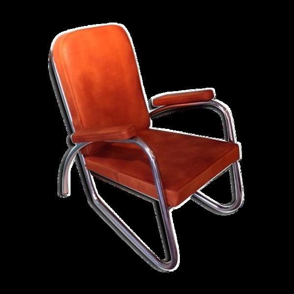 Fauteuil moderniste en cuir et chrome - 1940