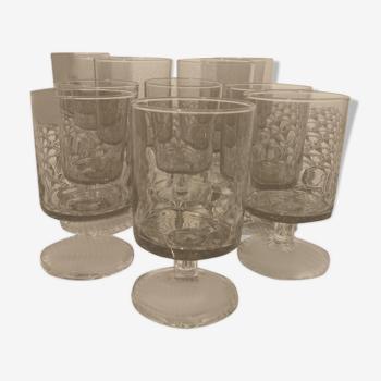 Service de 12 verres vintage Arcoroc