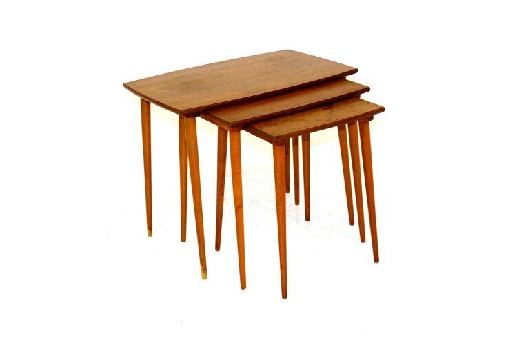 Teak trundle table, Sweden, 1950