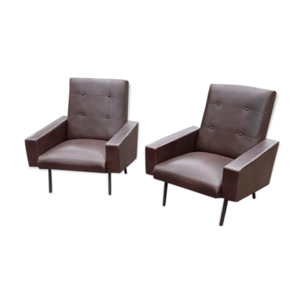 Paire de fauteuils des années 70 skaï marron