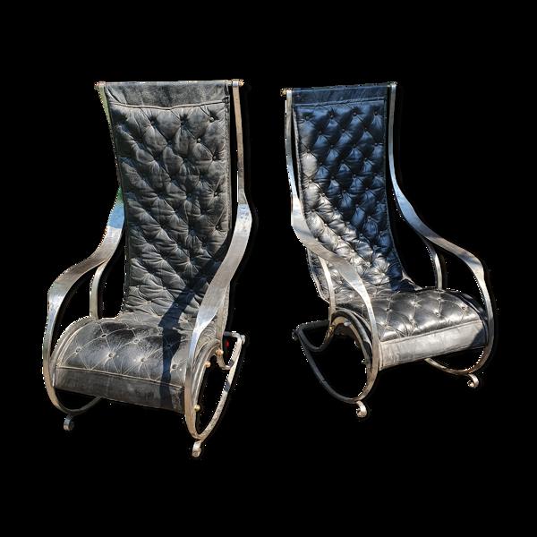Selency Paire de rocking-chairs en fer et cuir