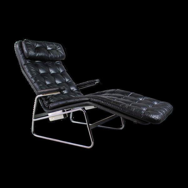 Chaise longue en cuir suédois des années 1970 par Sam Larsson pour DUX