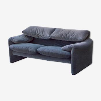 """Sofa """"Maralunga"""" by Vico Magistretti edition Cassina velvet bicolor"""