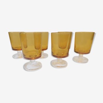 Six verres à liqueur shooter digestif style 1970