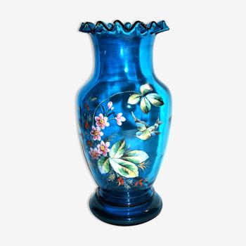Vase 1900 en verre bleu émaillé et orné d'une mésange