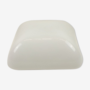Vintage square ceiling light in opaline style white glass 25x25cm
