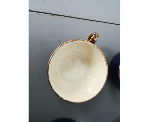 Service à café ou thé en faïence bleu nuit