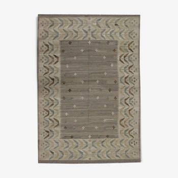 Tapis traditionnel en laine tissée plate Kilim Beige Cream Afghan Area - 127x178cm