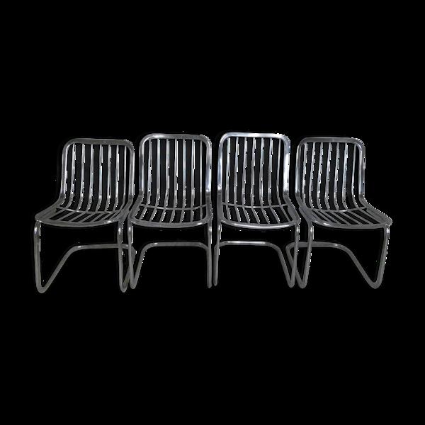 Selency Lot de 4 chaises Cidue métal acier chromé vintage