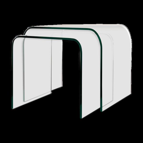 Ensemble de 2 tables en verre incurvé produit par Fiam