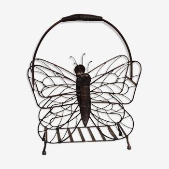 Porte revues vintage en forme de papillon en fer