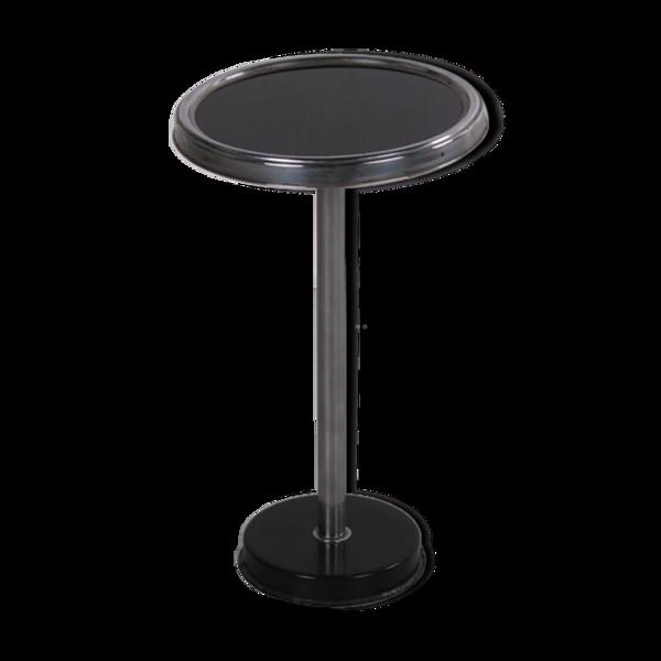 Table d'appoint art déco noire avec cadre en métal