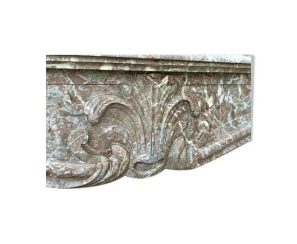 Cheminée Louis XV en marbre gris des Ardennes XVIIIème Siècle