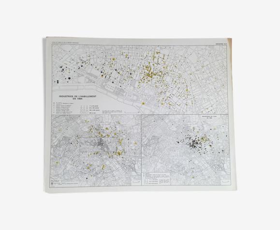 Carte plan Paris ile de France 1964