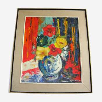 Bouquet de fleurs de B Del Giudice XXème
