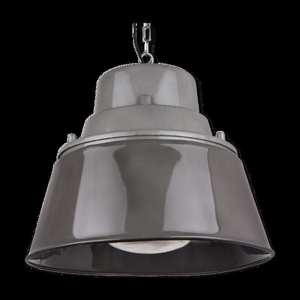 Lampe industrielle vintage avec verre prismatique de Pologne années 1970, style loft