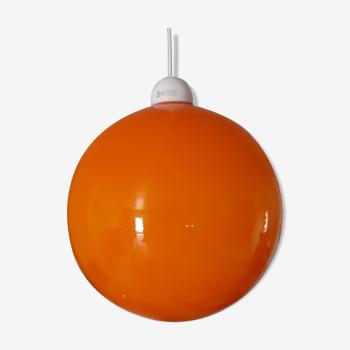 Suspension Vintage Opaline Orange et Blanche
