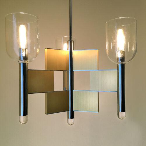 Lustre Maison Sciolari laiton et chrome trois éclairages 1970