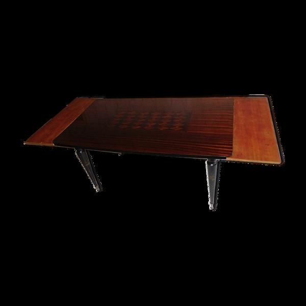 Table de salle a manger 1960 en macassar avec 2 allonges