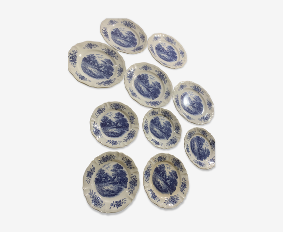 Set de 10 assiettes Digoin Sarreguemines modèle Romantic