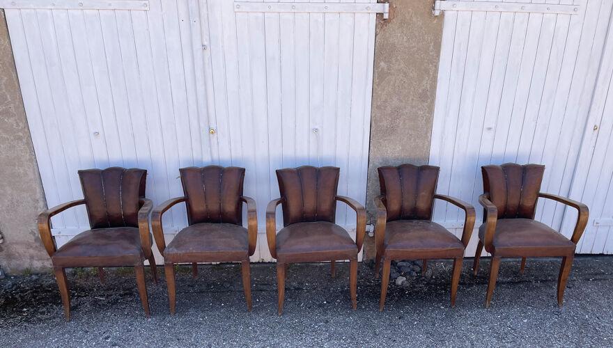 Lot de 5 fauteuils bridge en cuir époque art déco