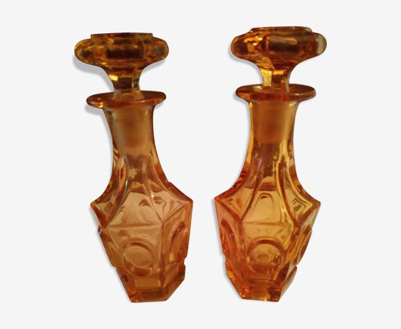 Paire de flacons couleur ambrée