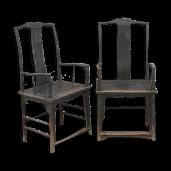 Paire de fauteuils anciens laqués